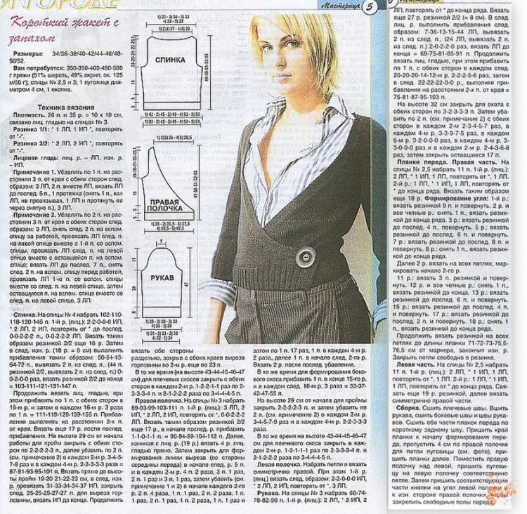 Кофта с запахом спицами для женщин схемы и описание фото
