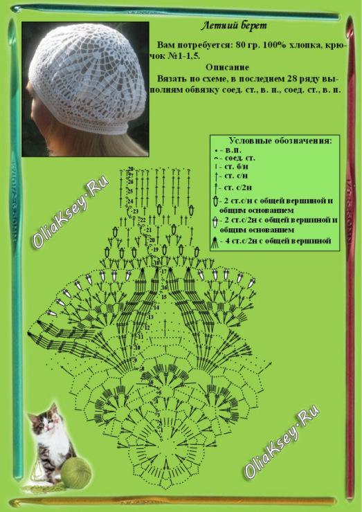 Вязание крючком летних беретов для женщин схемы и описание