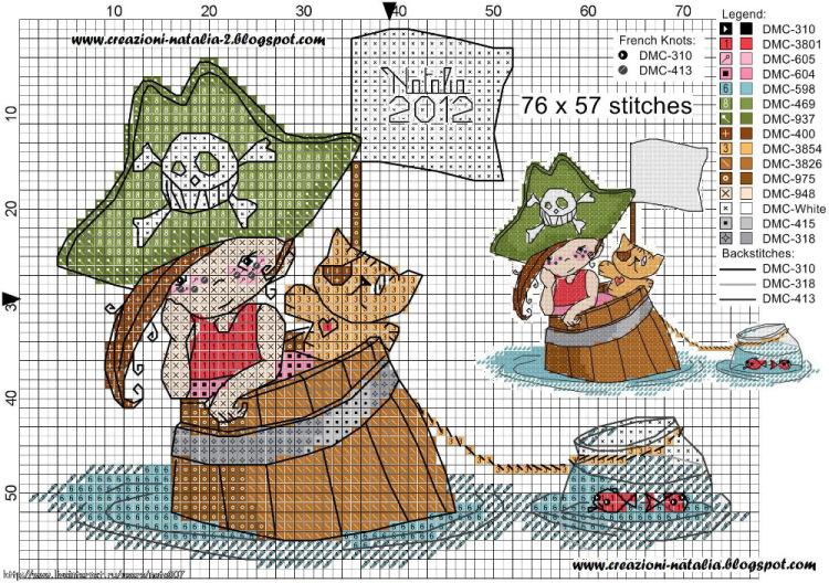 Схема для вышивки пират