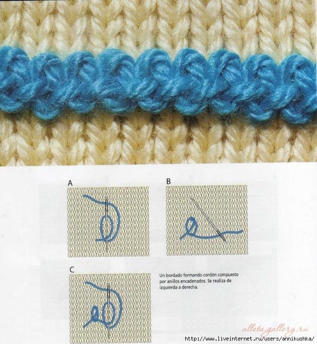 Как вышивать по вязанию 623