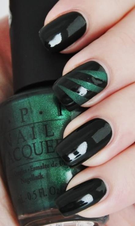 Дизайн ногтей черный и зеленый