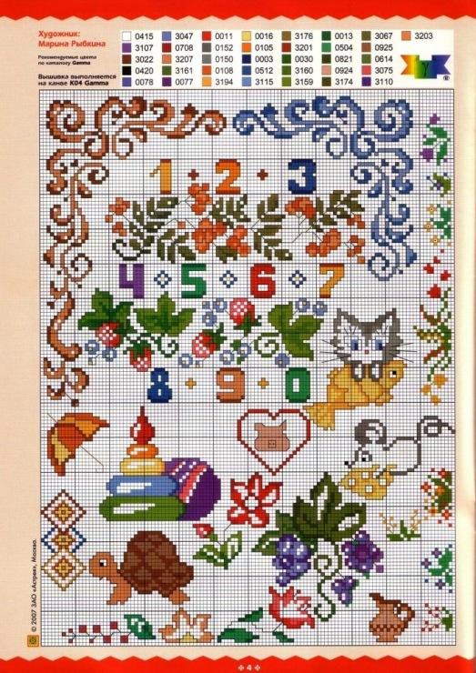 Вышивка крестиком буквы и цифры схема