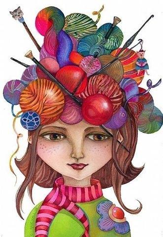 Рисунок девочка с вязанием