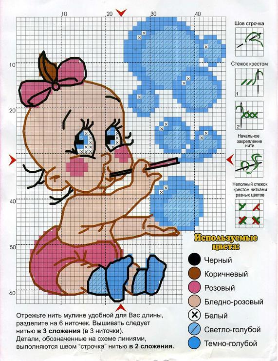 Схемы вышивок новорожденных малышей