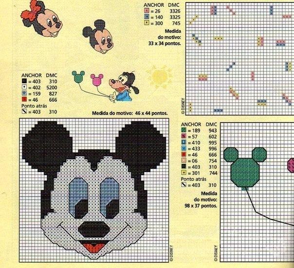 Шапка микки маус схема вязания