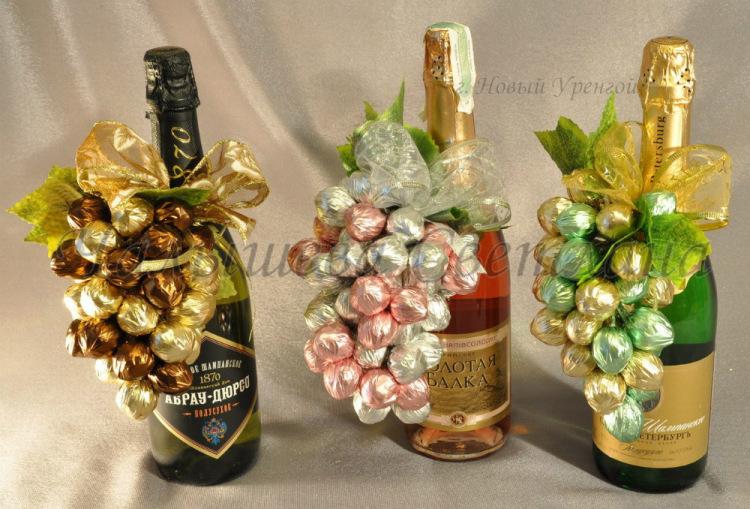 Подарок из шампанского и конфет своими руками на новый год