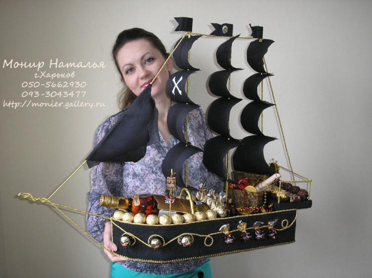 Пиратский корабль из конфет пошаговое фото