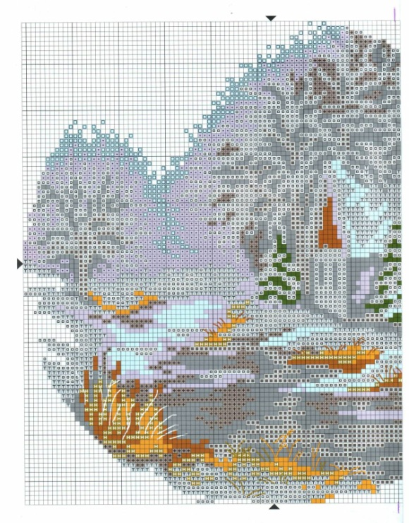 Зима в деревне вышивка крестом схема 844