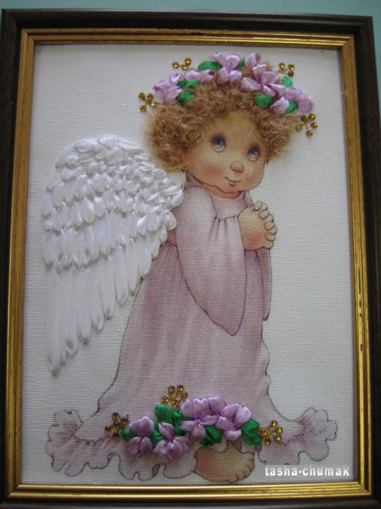 Вышивка ангелов лентами