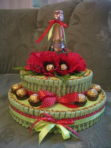 Торт на 50 лет женщине своими руками из конфет 100
