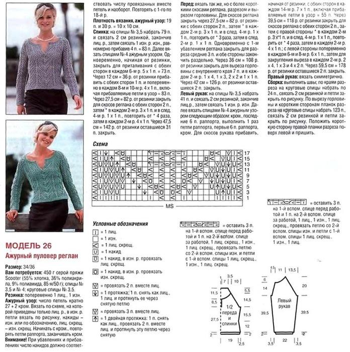 Вязание для женщин с регланом 188