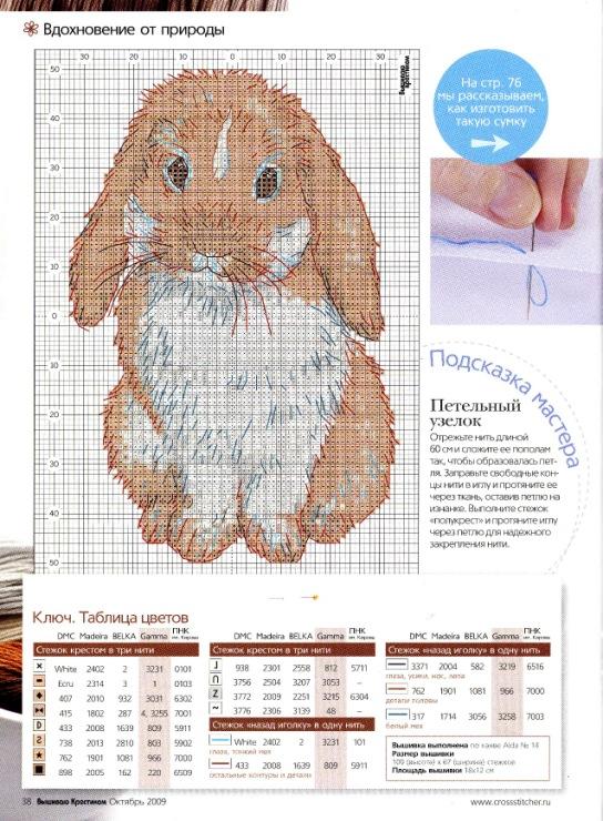 Схемы для вышивки крестом зайцев-кроликов 59