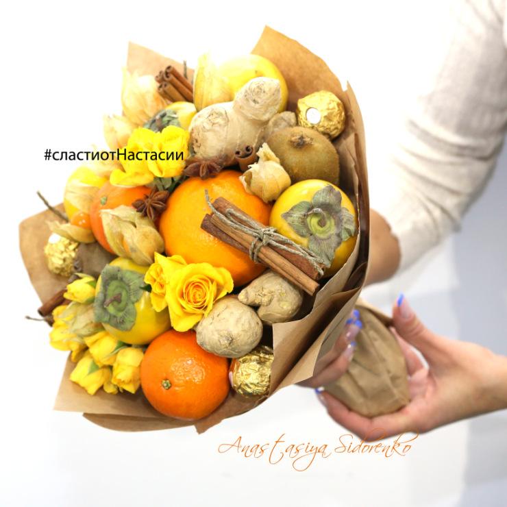 Букеты из продуктов для женщин