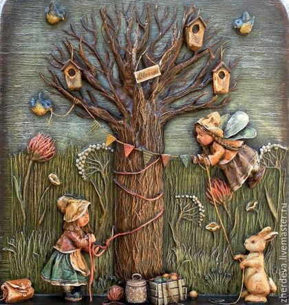 Дерево на стене из папье-маше своими руками 9
