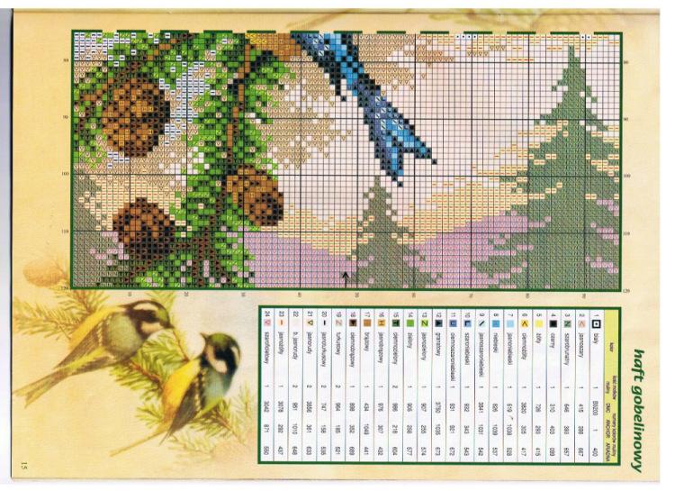 Птицы на ветке схема вышивки 981