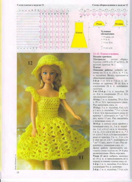 Платья для кукол барби связанные крючком