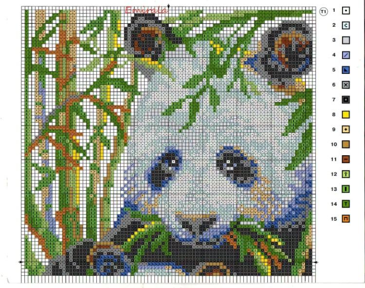Скачать схему для вышивки панды